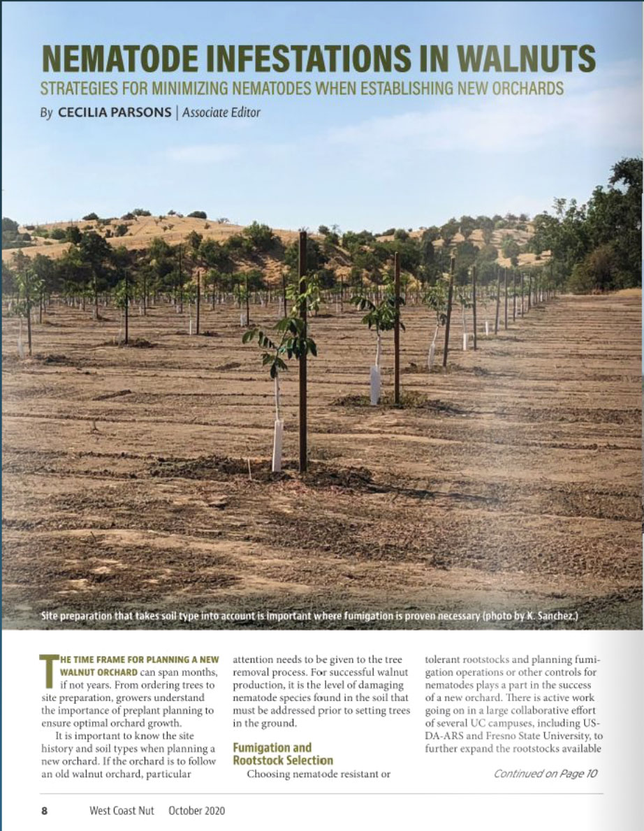 "Featured Article: ""Strategies for Minimizing Nematodes When Establishing New Orchards"" – West Coast Nut"